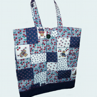 Fold up Shopping Bag ~ Tote Bag, Teddy Patchwork