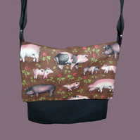 Black Canvas Messenger Bag with Pigs *RESERVED*