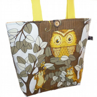 Tote Bag ~ Vintage Owl, Squirrel, Mouse