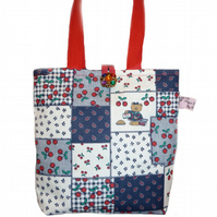 Mini Tote Bag ~ Patchwork and Teddy