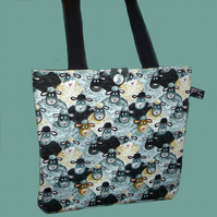Fun Silly Sheep Tote Bag, Shopping Bag, Knitting Bag,
