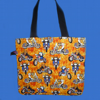 Cats on Motorbikes - Tote Bag, Shopping Bag, Knitting Bag