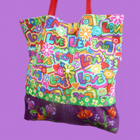 Bright Hippy Style Flower Power Tote Bag/Shopping Bag