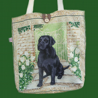 Black Labrador Cotton Tote Bag/Shopping Bag/knitting Bag