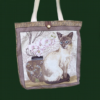 Siamese Cat Tote Bag/shopping bag/knitting bag
