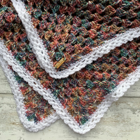 Heather tweedy granny square crochet blanket - pink blue green