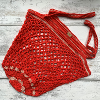 Cotton crochet string market festival beach tote bag in coral red