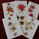 CHRISTMAS CARDS 10 UNIQUE POINSETTIA CARDS AND TAGS MADE TO ORDER PLEASE LOOK!