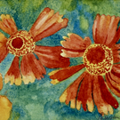 SMALL WATERCOLOUR PAINTING of BRONZE ORANGE FLOWERS WITH MOUNT 8 X 6 INCH LOOK