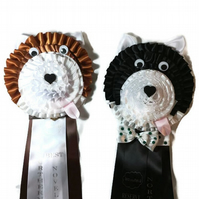 Novelty Dog rosette with personalised tail