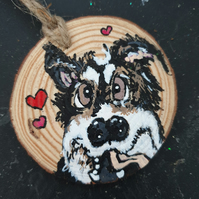 Bespoke hand painted christmas pet decorations
