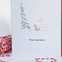Dogs Christmas card. Christmas Tree decoration