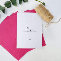 Dogs Yoga card. DOGA