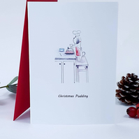 Dog christmas card. Christmas Pudding