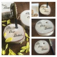 Rustic Birch Wood 'Be Our Guest' Wedding  Guest Book Pen Holder Block, Log