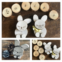 Rustic Natural Sycamore Wood Easter Bunny, Rabbit, Ornament