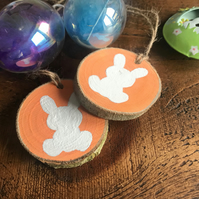 Rustic Natural Wood Slice Easter Bunny Decoration, Round, Gift Tag, Ornament