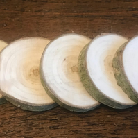 5 Natural Poplar Wood Slices, Rounds, Craft - 6-7cm - Sanded