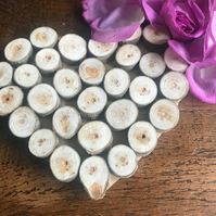 Unique Rustic Natural Wood Slice Heart Decor, Hanging Decoration, Wedding