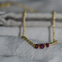 Ruby, 18k gold vermeil and silver beaded necklace