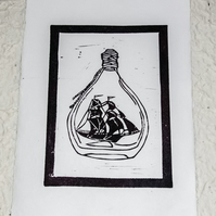 True the sea lino print