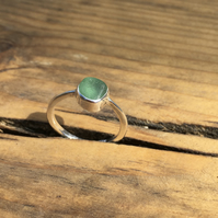 Handmade Welsh Green-Blue Sea Glass & Silver Ring