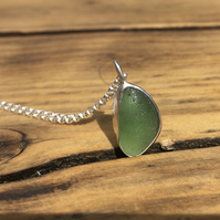 Handmade Welsh Moss Green Sea Glass and Silver Pendant With Silver Necklace