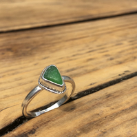Handmade Welsh Green Sea Glass & Silver Ring Size P
