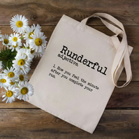 Runderful Running Tote Bag - Dictionary Running Tote Bag - Runners Gift - Run