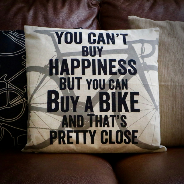 You Can't Buy Happiness Cycling Cushion Cover - ROAD Bike Cushion Cover