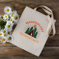 Wanderlust Camping Tote Bag - Outdoors Tote Bag - Camping Bag