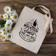 Mountain Climbs And Good Vibes Tote Bag - Outdoors Tote Bag - Climber Gift