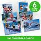 Ski Christmas Cards - 6 card pack -  Funny Christmas cards - Skiing cards