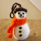 Snowman Christmas Decoration, needle-felted wool