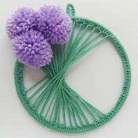 Alium or Thistle PomPom Wall Hanging, Flower Wall Art, Green and Purple Wall Art