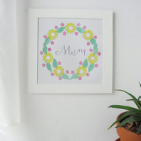Mum Spring Flower Wall Art, Mum Spring Flower Painting, Mum Flower Wreath Art