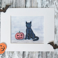 Black Cat Art Print, Black Cat Art, Cat Art Print, Black Cat Illustration