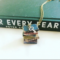 Vintage Book Necklace, Book Collector, Librarian Gift jewellery, Book Club Gift,
