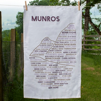Munros tea towel, gift for Munro baggers and hill walkers, designed in Scotland