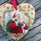Beautiful Christmas Wall Decoration, Handcrafted Decoupage Wooden Heart