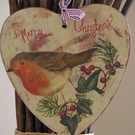Lovely Christmas Wall Decoration, Handcrafted Decoupage Wooden Heart