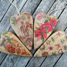 Beautiful Christmas Tree and Home Decoration, Decoupage Wooden Hearts