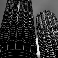Chicago Skyscrapers - Marina City in Black and White