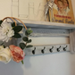 Rustic Shabby Chic Handmade Wooden Coat Hook Rack with Shelf Grey White