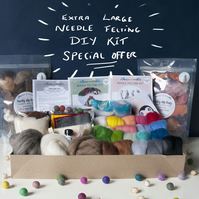 Large needle felting kit with extra supplies plus 2 step-by-step instructions.