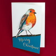 robin handmade Christmas unique card