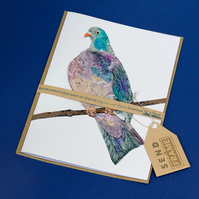 BIRDS woodPIGEON card featured 3D