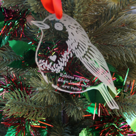 Personalised robin Christmas tree decoration
