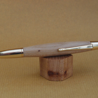 Hand turned click style pen biro ballpoint - Elm with Gold fittings