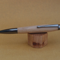 Hand turned click style pen biro ballpoint - Elm with Gun Metal fittings